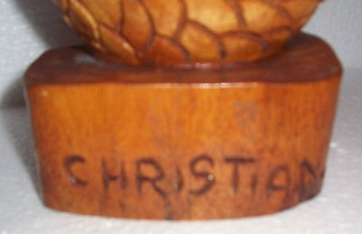 """Signed Christian Jean Jn. Louis A.T. Hand Carved """"Fish"""" Wood Sculpture Art Haiti"""