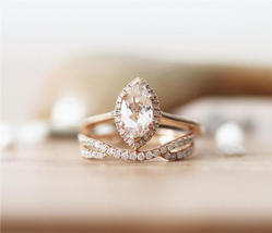Marquise Cut AAA Morganite Engagement Bridal Ring Set 14K Rose Gold Over Silver - $126.39