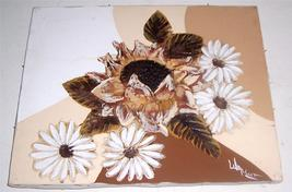 Signed Frank Walcutt Daisy's & Sunflower Mixed Media art Painting - $289.14