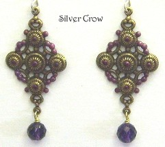 Brass Earrings Cross Motif Purple Accents Amethyst Gemstone Dangle - $15.99
