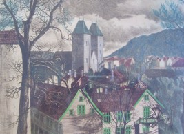 "Signed Halvard Storm ""Mariakirken Bergen St. Mary's Church"" Intaglio Art... - $675.49"