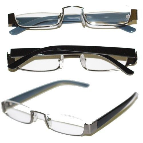 Primary image for Reading Glasses TOPLESS Half Eye Delicate Reader ~ Hematite Gray Frame ~  +2.00
