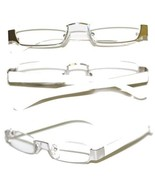 Reading Glasses TOPLESS Half Eye Delicate Reader ~ White Silver Frame ~ ... - $29.50