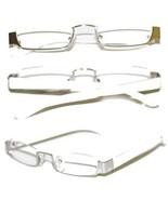 Reading Glasses TOPLESS Half Eye Delicate Reader ~ White Silver Frame ~ ... - $29.50