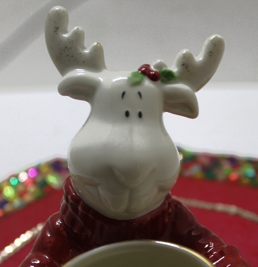 Retired LENOX Christmas Moose Porcelain Votive Candle Holder