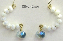 White Crystal Crescent Earrings - $10.99