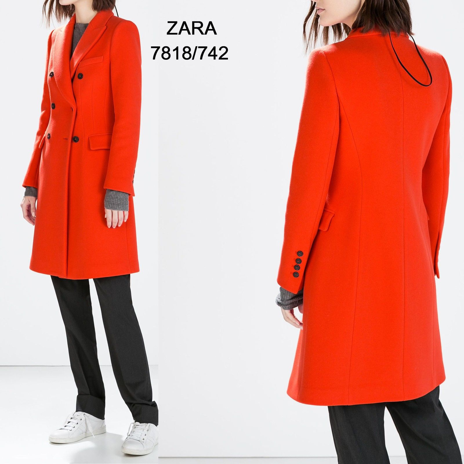 Zara Red Double Breasted Coat - 7818/742