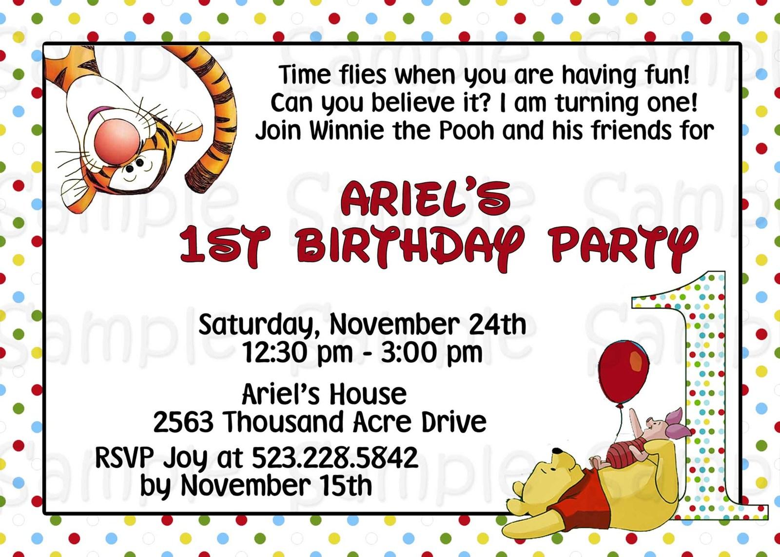 Winnie The Pooh 1st Birthday Personalized Invitation