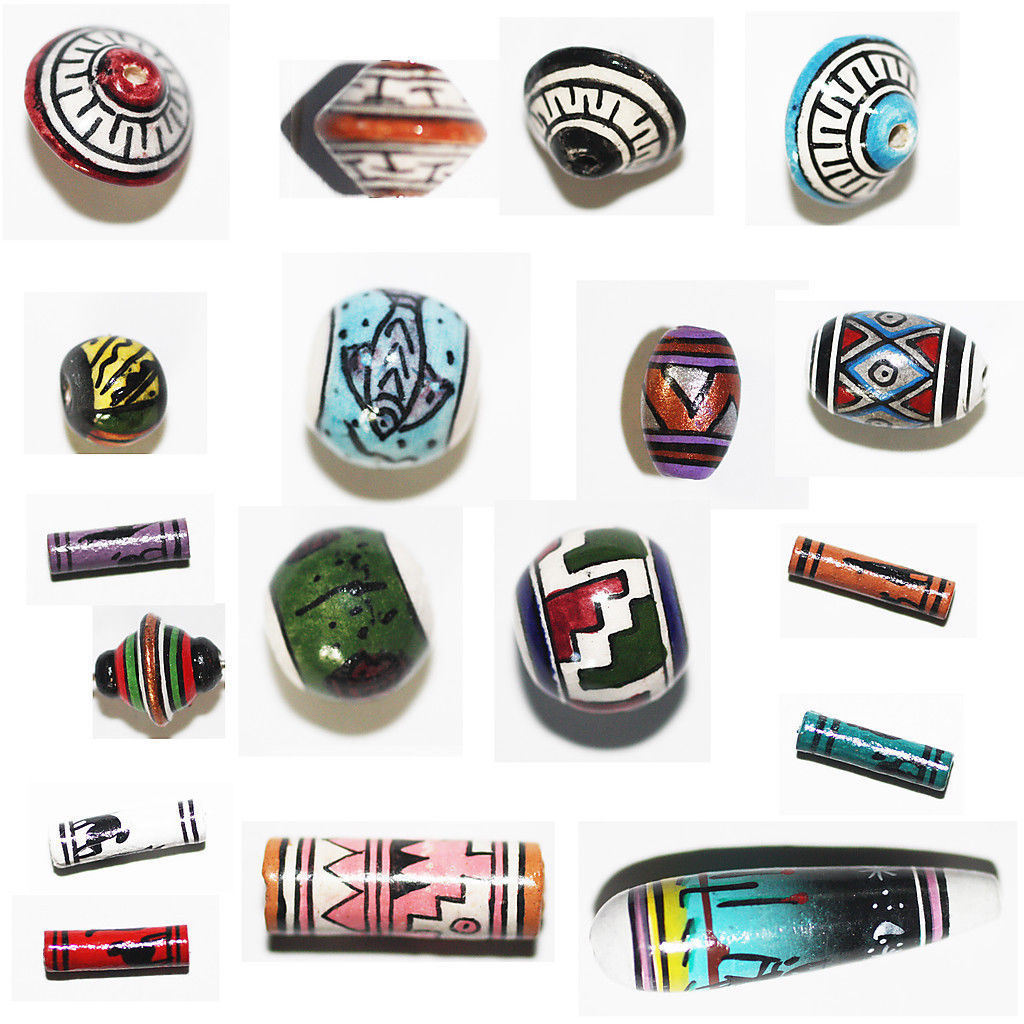 Primary image for PERUVIAN CLAY BEADS Hand Painted Clay Beads from Peru. CLEARANCE LOTS Ltd qty