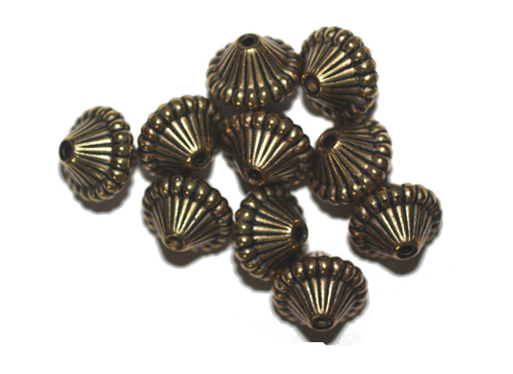 Primary image for 14mm Mushroom Antiqued Goldtone Metalized Metallic Beads