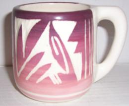Signed Kanuho Etched Handmade Pottery Mug Native American, Navajo #2 - $84.44