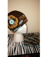 Handmade Crochet Brown Mix Hat & Fingerless Glo... - $35.00