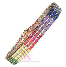 Cubic Zirconia Rainbow Cz 925 Sterling Silver Gods Promise Triple Row Br... - $695.00