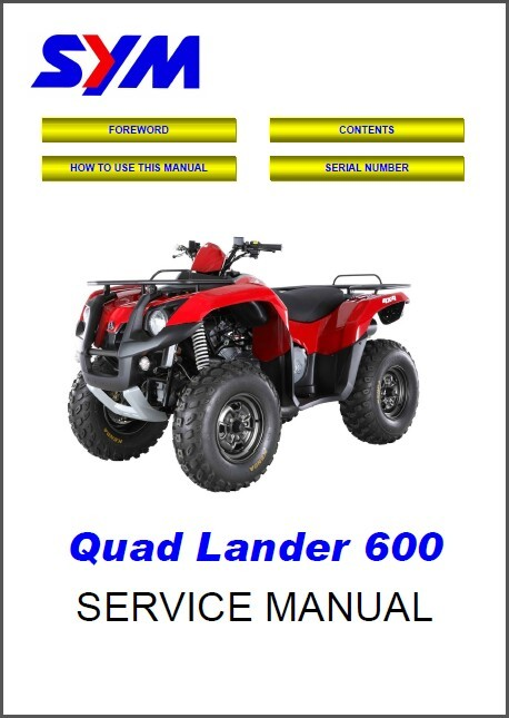 SYM Quad Lander 600 ATV Service Repair Workshop Manual CD - Sanyang Quadlander