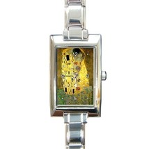 Ladies Rectangular Italian Charm Watch Gustav Klimt The Kiss Gift model ... - $11.99