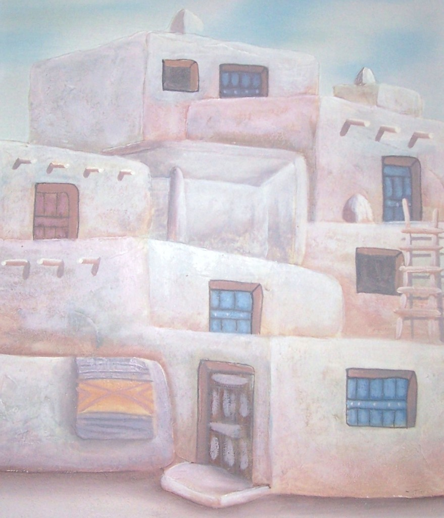 Signed Myung Mario Jung Native Indian Pueblo Art Painting