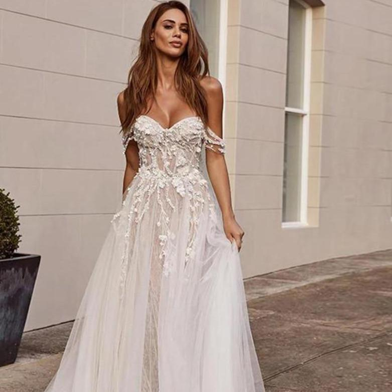 Rie lace wedding dresses boho 2020 off the shoulder appliques a line bride dress sleeveless open