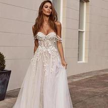 Stunning Off the Shoulder Lace Appliques Sleeveless Open Back Princess A Line Br image 1