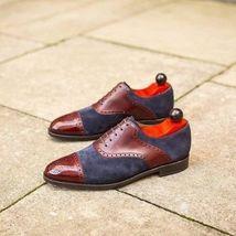 Handmade Men Burgundy & Blue Heart Medallion Leather & Suede Dress Oxford Shoes image 3
