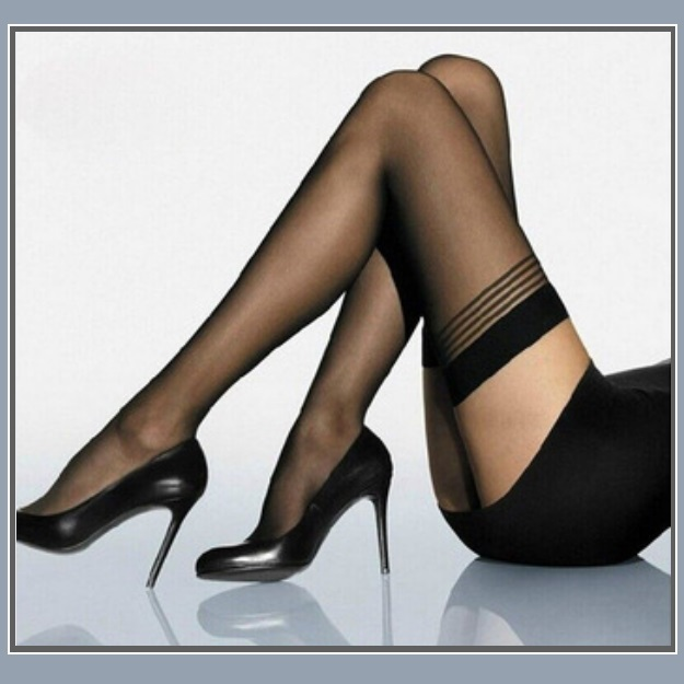 Ultrathin Sheer Silk Nylon Banded Top Thigh High Femme' Stockings Black or Beige