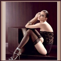 Ultrathin Sheer Silk Nylon Banded Top Thigh High Femme' Stockings Black or Beige image 2