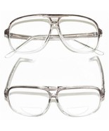 CLASSIC Men's LARGE Gray Ombre FRAME Bifocal Reading Glasses 80's Tech +... - $19.31