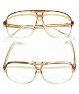 CLASSIC Men's LARGE Topaz Brown FRAME Bifocal Reading Glasses 80's Tech ... - $19.31