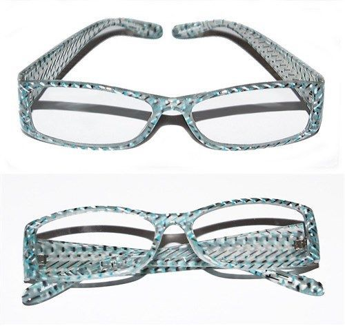 Primary image for Reading Glasses ~ Snake Check Graphic Design ~ Aqua Blue White Frame +1.75 Lens