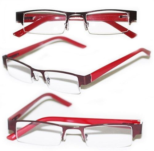 Primary image for Reading Glasses BRUSHED METAL Top Only Rich RED Frame Narrow Lens +2.25