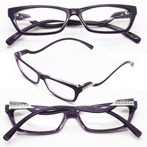 "Primary image for Reading Glasses ""Italian Curve"" Wiggle Petite RICH Purple PLUM Frame +1.00 Lens"