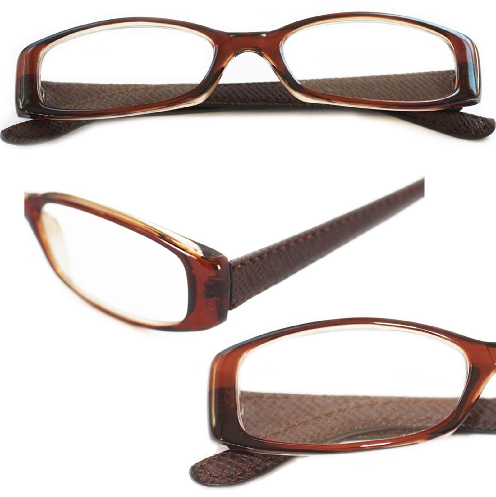 Primary image for Reading Glasses ~ Posh ~ Rectangle Luggage Brown Frame Simulated Leather  +1.25