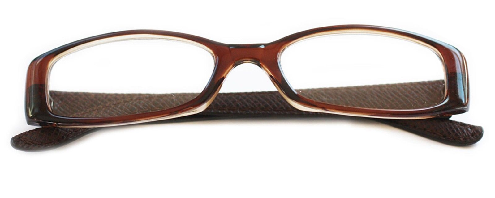 Leather Frame Reading Glasses : Reading Glasses ~ Posh ~ Rectangle Luggage Brown Frame ...