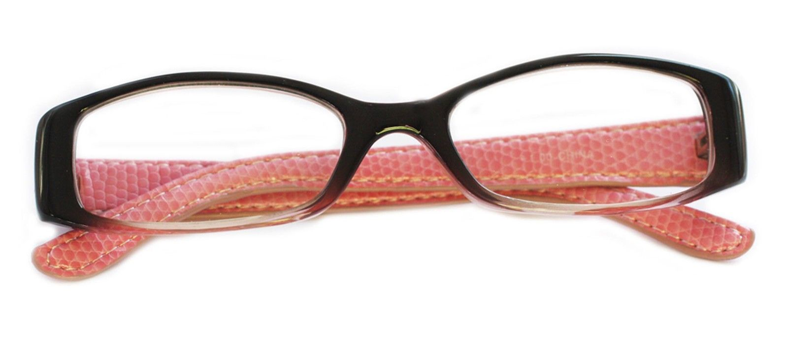 Leather Frame Reading Glasses : Reading Glasses ~ Posh ~ Rectangle Black Pink Frame ...