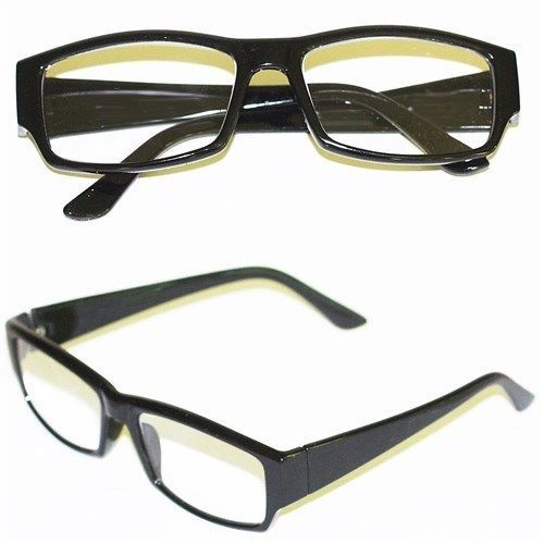 Primary image for Wide Reading Glasses Italian Style Rectangle Polished BLACK Frame +2.00 Lens