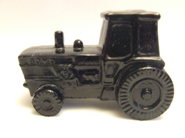 Vintage Boyd Art Glass Tractor in Classic Black  #9 of 30 First Mark - $12.95