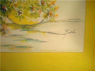 Signed Risolia still life watercolor art painting latin american / miami artist