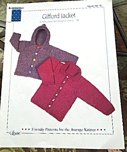 "Primary image for Vintage 1998 Knitted Jacket Pattern ""Gifford Jacket"" -Childrens sizes 2-12 #5149"