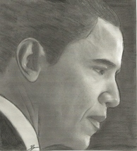BARACK OBAMA 8X10 ORIGINAL CHARCOAL DRAWING SIGNED BY ARTIST - $29.99