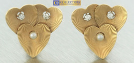 Ladies Vintage 14K Yellow Gold Heart Trio Diamond Pearl Stud Clip On Ear... - $599.95
