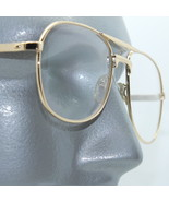 Reading Glasses +1.00 Lens Metal Aviator Frame Gold Double Bridge Man Size - $18.00