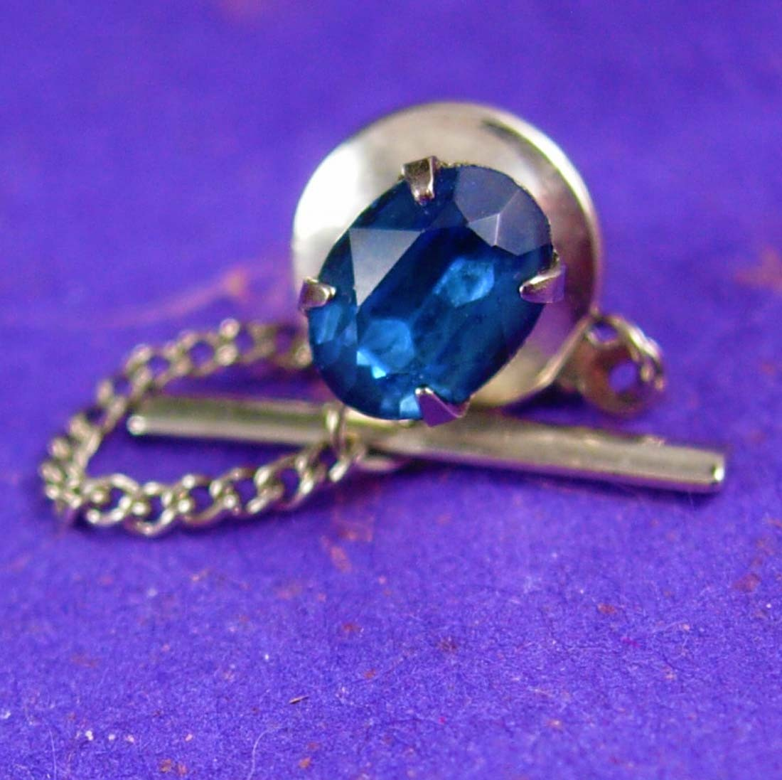 Primary image for Birthstone Tie Tack Vintage Blue Topaz Multi faceted Jewel December Birthday Wed