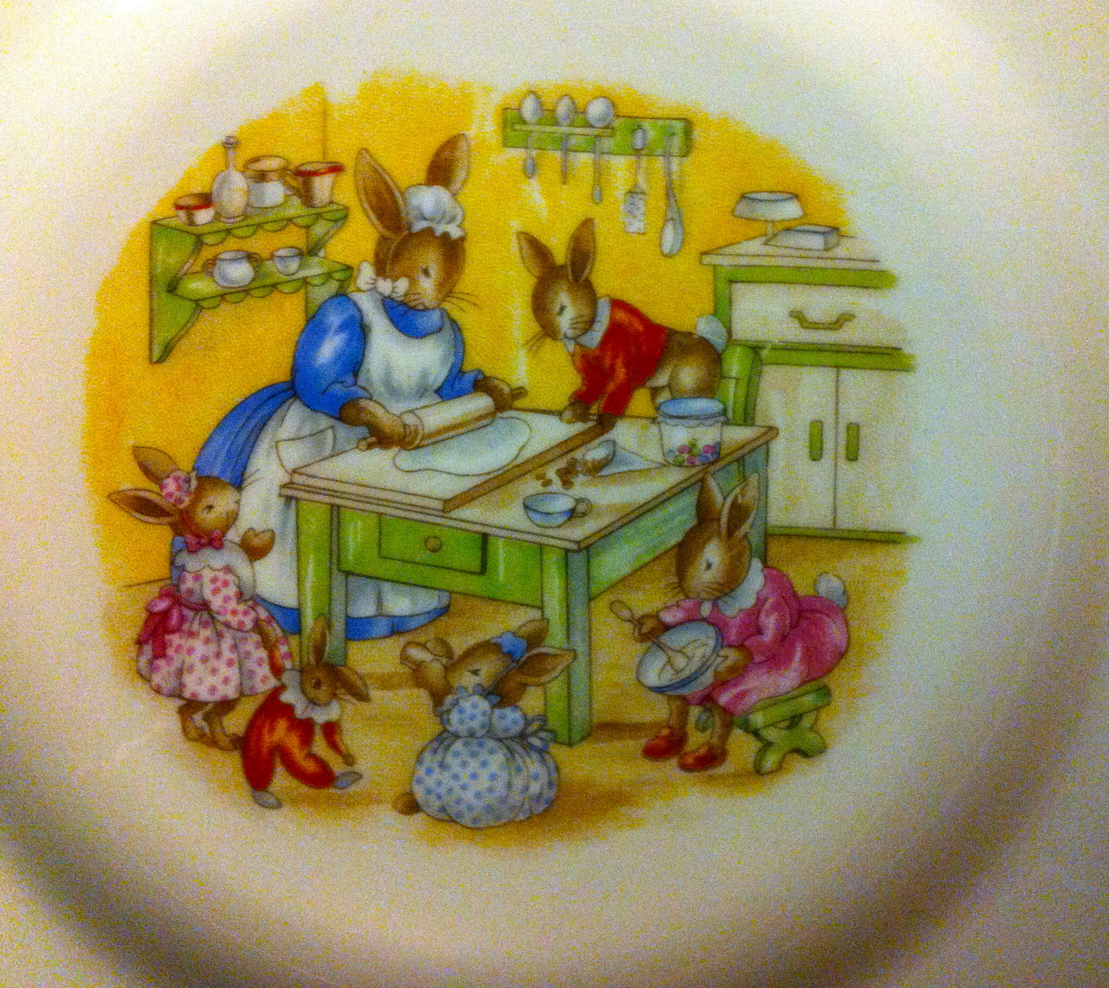 Vintage Bunnykins Child's Plate ~ Baking Cookies ~ by Royal Doulton
