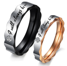 I Will Always Be With You Titanium Steel Ring Couple Wedding Promise Rin... - $343,34 MXN