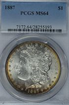 1887 P Morgan silver dollar PCGS MS64 - $92.50