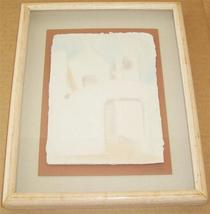 "Signed Wess ""Pueblo Church "" Framed Mixed Media Native Indian Painting - $123.39"
