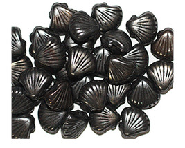 10mm Shell Gunmetal Gray Metalized Metallic Beads - $6.47