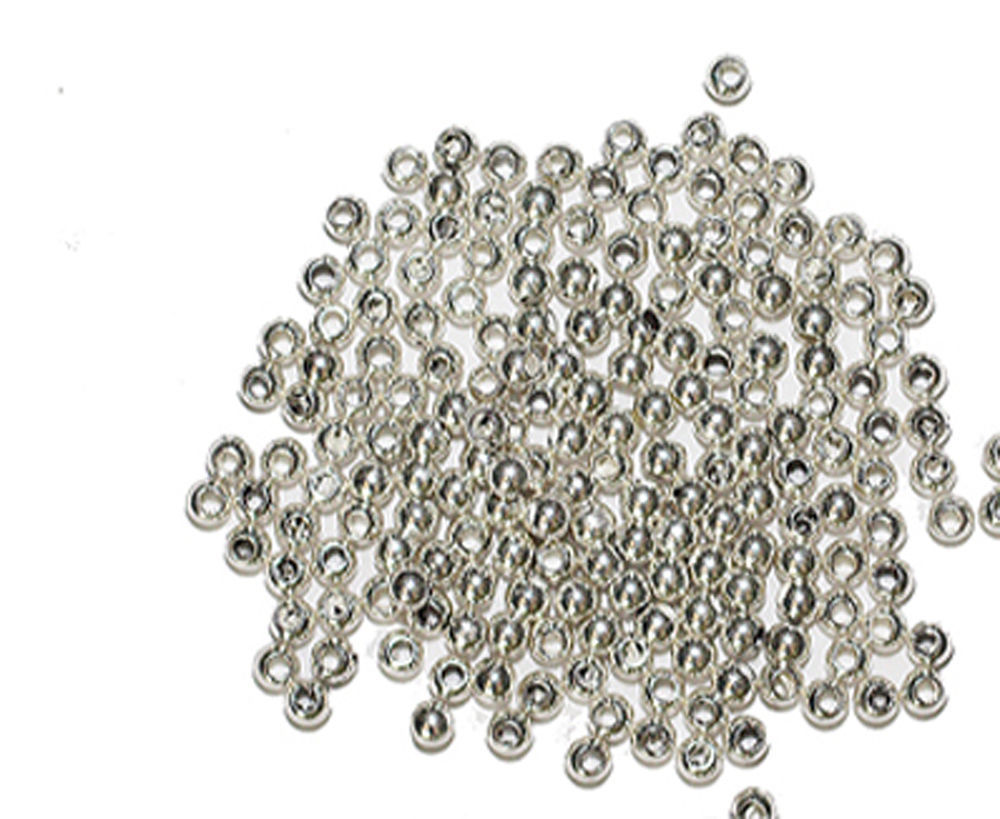 Primary image for 2.5mm Round Bright Silvertone Metalized Metallic Beads