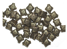 10mm Eastern Diamond Pillow Antiqued Goldtone Metalized Metallic Beads - $6.47