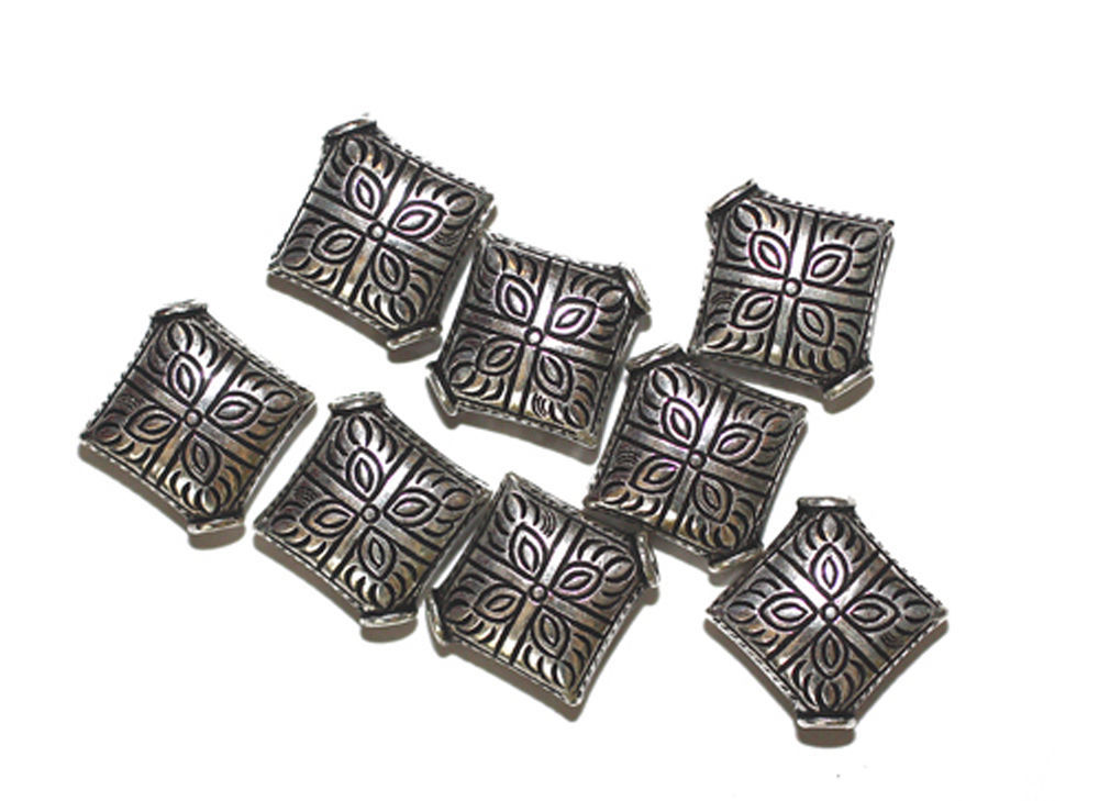 Primary image for 15mm Eastern Diamond Pillow Antiqued Silvertone Metalized Metallic Beads