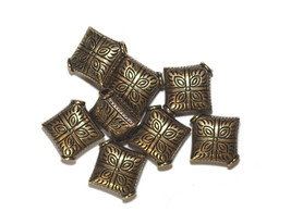 15mm Eastern Diamond Pillow Antiqued Goldtone Metalized Metallic Beads - $6.47